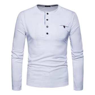 Men's Casual Button Collar Design Round Neck Bottoming Tops