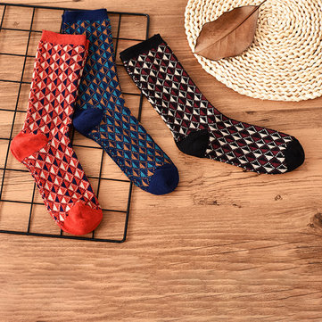 Women Winter Plaid Thicken Cotton Middle Tube Pile Socks