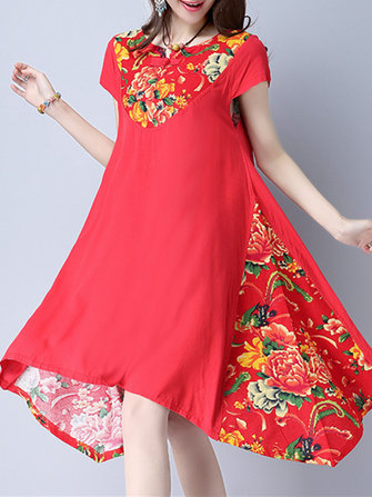 Folk Women Short Sleeve Plate Buckle Floral Printed Dresses