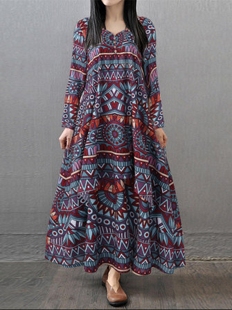 Gracila Ethnic Women Geometric Print V-neck Loose Maxi Dress