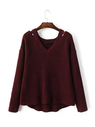 Casual Off Shoulder V-Neck Long Sleeve Knitted Pullover Sweater