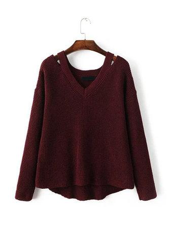 Casuale dalla spalla manica lunga con scollo a V maglione pullover a maglia