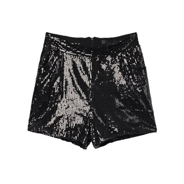 Sexy Punk Black Sequins Pocket Short Pants For Women