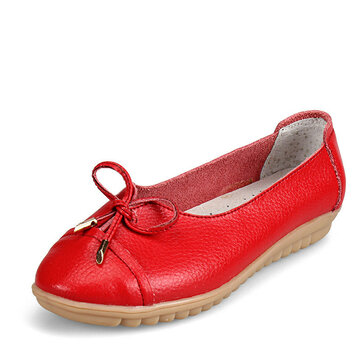 US Size 5-10 Women Flat Casual Outdoor Leather Round Toe Soft Comfortable Slip On Flats Shoes
