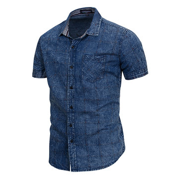 Mens Fashion Casual Chest Pocket Plaid Printing Denim Shirts