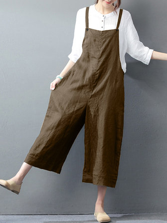 Women Vintage Sleeveless Straps Long Wide Leg Pants Jumpsuit