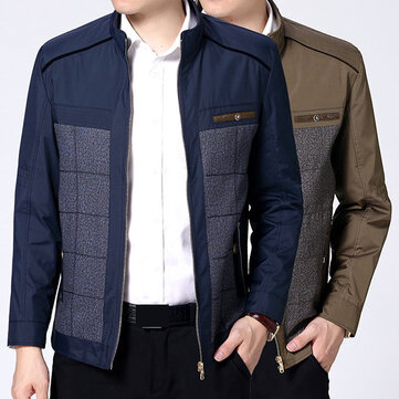 Fall Casual Business Patchwork Stand Collar Stylish Jackets Coats for Men