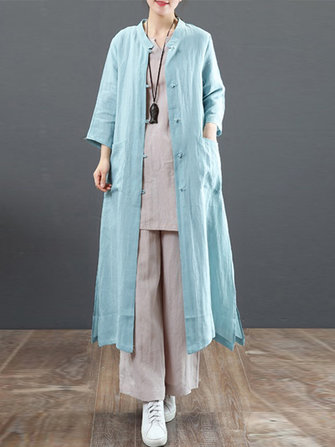 Women Vintage Stand Collar Casual Loose Shirt Cardigans Outwears Coats