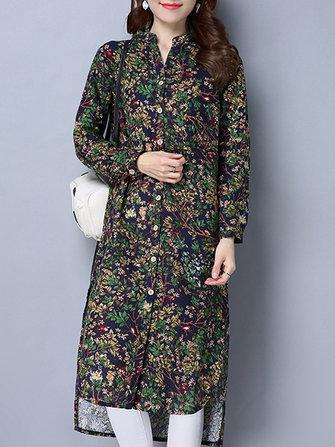 Vintage femmes stand collier floral imprimé boutons manches longues chemisier