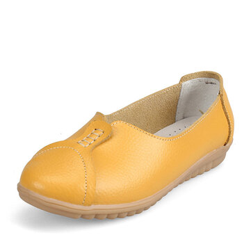 Women Casual Soft Leather Flat Shoes Driving Slip-ons Comfortable Loafers