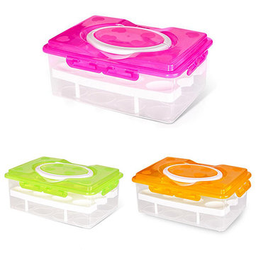 Double Layer 24 Grid Egg Box Kitchen Storage Container Holder Food Organizer Fridge Crisper