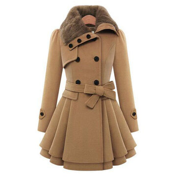 Women Double-Breasted Winter Warm Thick Long Overcoat Dress