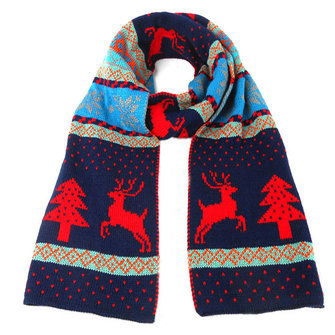 Womens Christmas Elk Double Sided Knitting Scarf Shawl Oversize Blanket Wrap Scarf