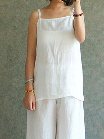 Women Sleeveless Strappy Cotton Linen Vest Casual Basic Inside Tank Tops
