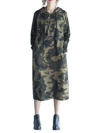 Casual Women Long Sleeve Camouflage Pockets Hooded Dress