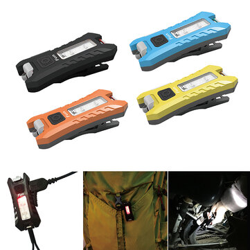 SUNREX Fun 40LM 6Modes USB Rechargeable KeyChain Light EDC LED Flashlight Black/Yellow/Orange/Blue