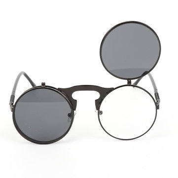 Fashion UV400 Men Women Retro Personality Metal Frame Flip Sunglasses