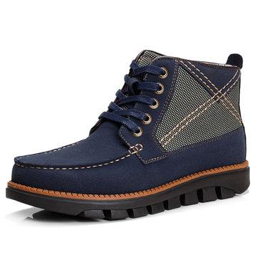 Мужчины Удобная ручная вышивка Plaid High Top Ботинки