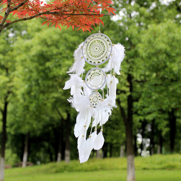 White Lace Flower Dreamcatcher Wind Chimes Indian Style Feather Pendant Dream Catcher Creative Car Hanging Decoration with Feather Core Bead Dream Catcher for Wall Car Decoration Dream Catcher Decor