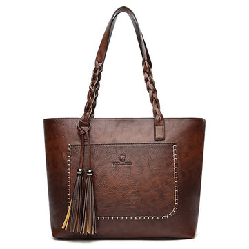 Women Retro Faux Leather Tote Bag Solid Tassel Leisure Shoulder Bag Hangbag