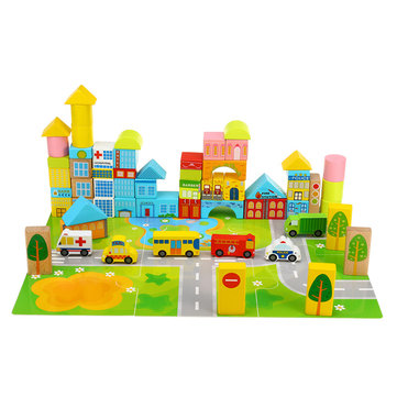 62PCS City Traffic Building Blocks Wooden DIY Assembling Bricks For Kids Educational Gift Toys