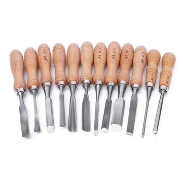 12Pcs Manual Wood Carving Hand Chisel Tool Set Carpenters Woodworking Carving Chisel DIY Detailed Hand Tools
