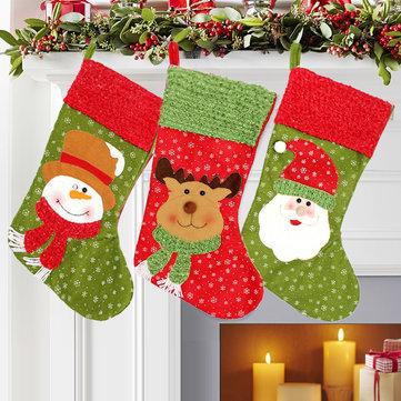 Christmas Santa Clau Snowman Elk Stockings Hanging Gift Bag Christmas Party Deocration