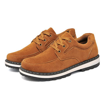 Men Casual Shoes Soft Outdoor Lace Up Round Toe Suede Flat Oxfords