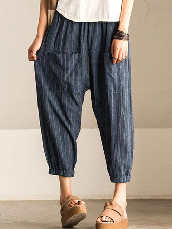 Women Retro Striped High Elastic Waist Casual Loose Harem Pants