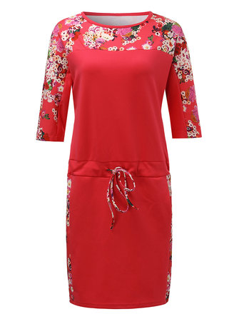 Casual Loose Women Floral Patchwork Drawstring Straight Dress