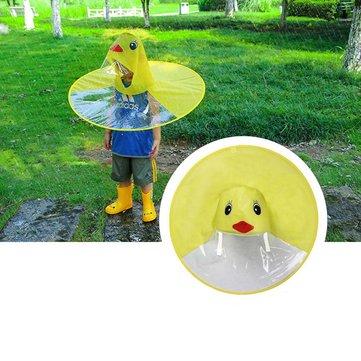 Foldable Children Kids Cape Raincoat Yellow Duck Poncho Hat Camping Shade Cover UFO Shape Umbrella