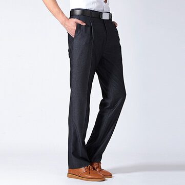 Mens Dress Pants Fashion Casual Suit Pants Pure Color Thin Straight Trousers