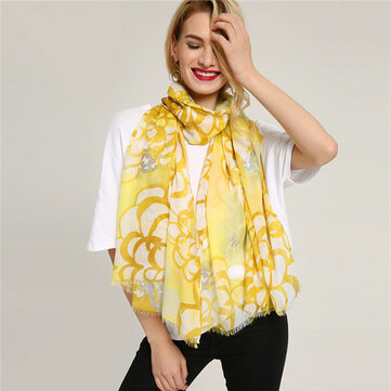 Women Warm Flower Pattern Ethnic Scarf Cotton Painting Spring Shawl Scarves
