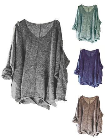 Women Casual V-neck Knitting Solid Color Baggy Sweaters