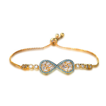 Sweet Blue Bowknot Infinity Knot Shape Bracelet Adjustable Zircon Chain