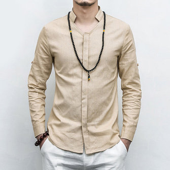 Linen Cotton Simple Stylish Business Casual Shirts for Men