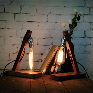 Loft Retro Wood UK Plug E27 Edison Table Lamp Cafe Home Bar Decoration