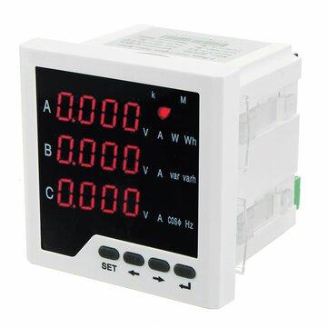 3 Phase LCD Digital Display Current Voltage Multifunction Power Panel Meter Power Energy Meter