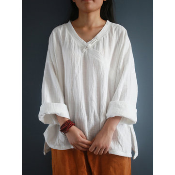 M-5XL Vintage V-Neck Solid Color Blouse