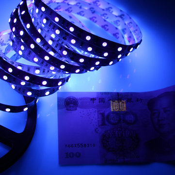 5M SMD 3528 UV Ultraviolet Waterproof Purple 300 LED Flexible Tape Strip Light Money Detection DC12V
