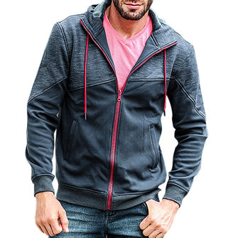 JOZSI Men's Casual Stitching Color Zip Up Hoodies Warm Thick Hooded Jacket