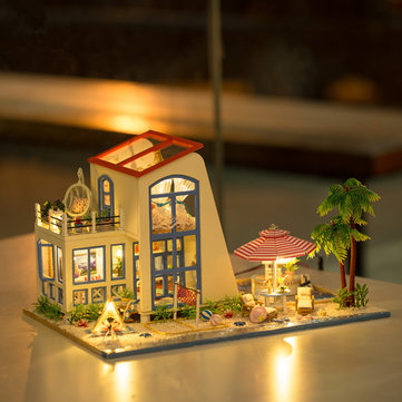 Hoomeda 13840 1/24 DIY Wooden Doll House Blue Sky With LED Furniture DIY Dollhouse
