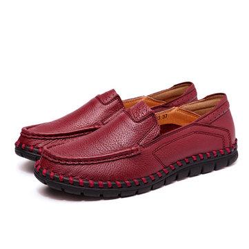 Donne scarpe di cuoio casuali morbida antiscivolo esterno su scarpe mocassini piane