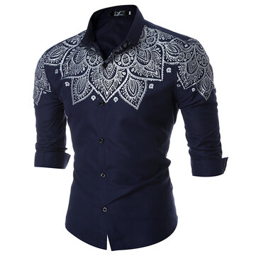 Mens Fashion Printing Turn Down Collar Cotton Long Sleeve Spring Casual Shirt