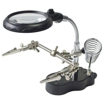 LED Light Soldering Iron Stand Helping Hands Magnifying Glass Magnifier
