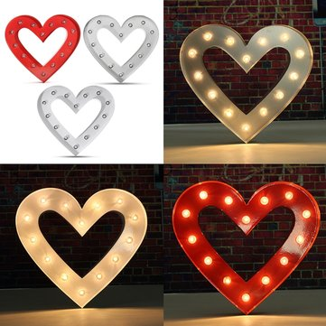 Vintage Metal LED Heart Shape Marquee Light DIY Wedding Party Decoration
