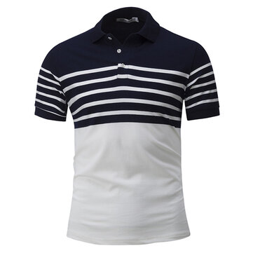 Men's Casual Concise Stripes Hit Color Lapel Short Sleeve T-shirt