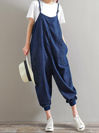 M-5XL Women Strap Harem Trousers Pure Color Casual Denim Jumpsuits