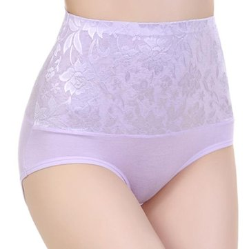 M-2XL 7 Colors Lace High Waist Abdomen Control Underpants Body Shapewear