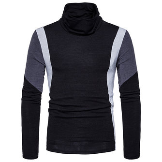 Men's Casual Color Block Slim Turtleneck Pullovers